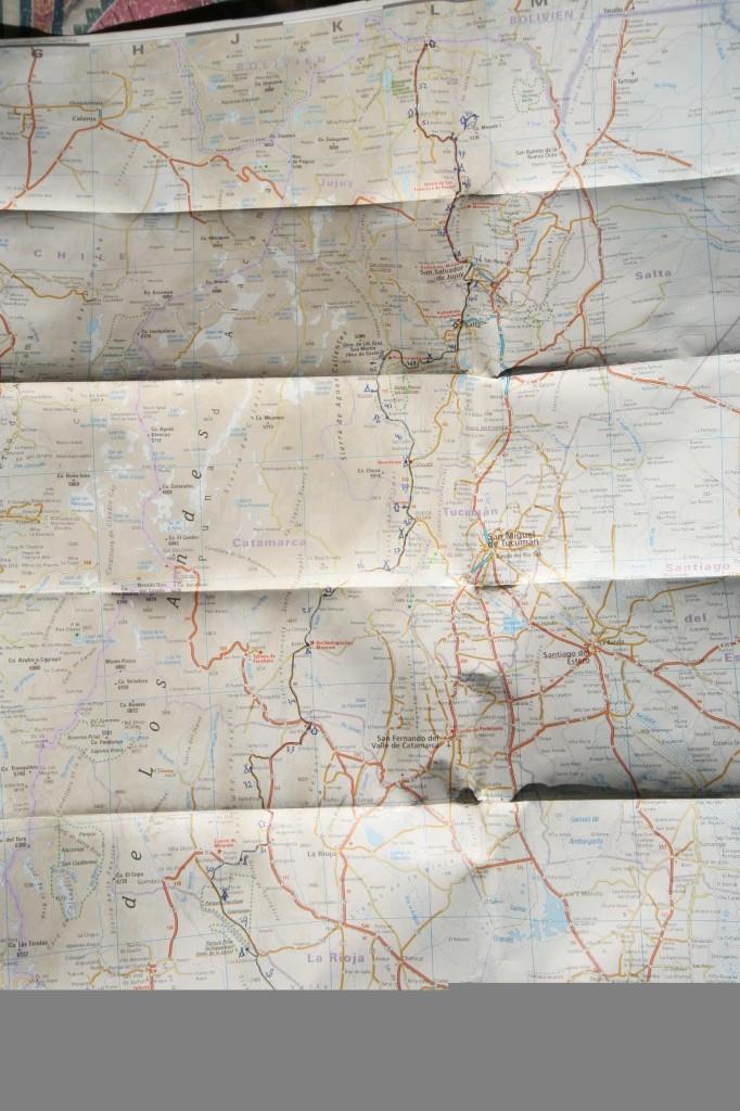 De gefietste route tussen 9 augustus en 17 september 2006.